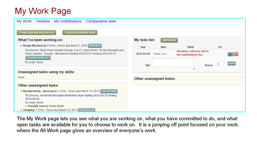 The My Work page lets you see what you are work...