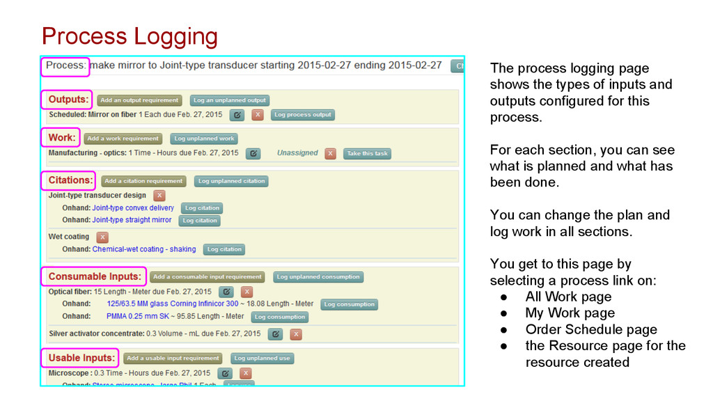 The process logging page shows the types of inp...