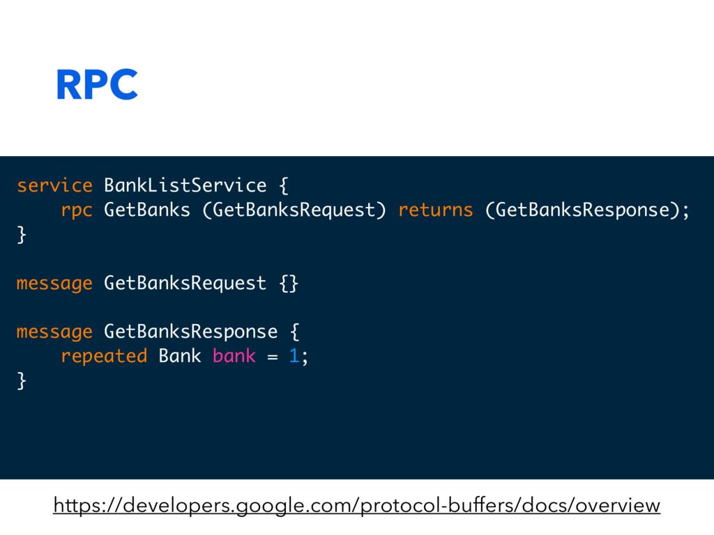 RPC service BankListService { rpc GetBanks (Get...