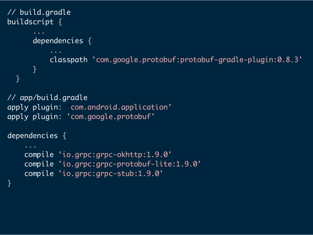 // build.gradle buildscript { ... dependencies ...