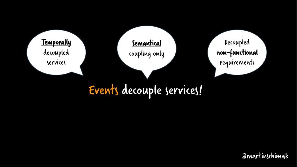 Events decouple services! @martinschimak Tempor...