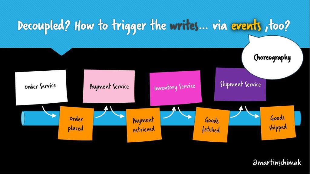 Decoupled? How to trigger the writes… via event...