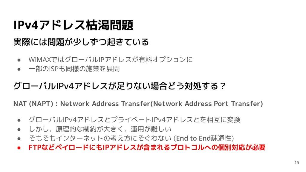IPv4アドレス枯渇問題 実際には問題が少しずつ起きている ● WiMAXではグローバルIPア...