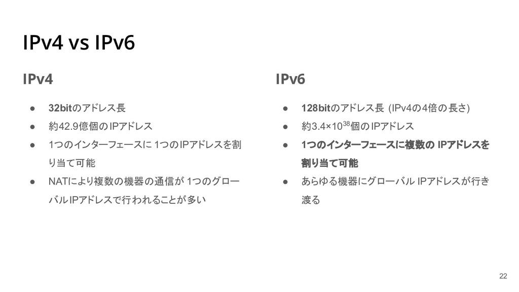 IPv4 vs IPv6 IPv4 ● 32bitのアドレス長 ● 約42.9億個のIPアドレ...