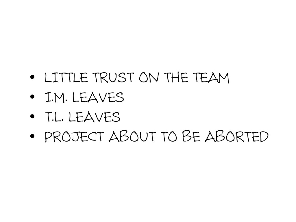 •  LITTLE TRUST ON THE TEAM •  I.M. LEAVES •  T...
