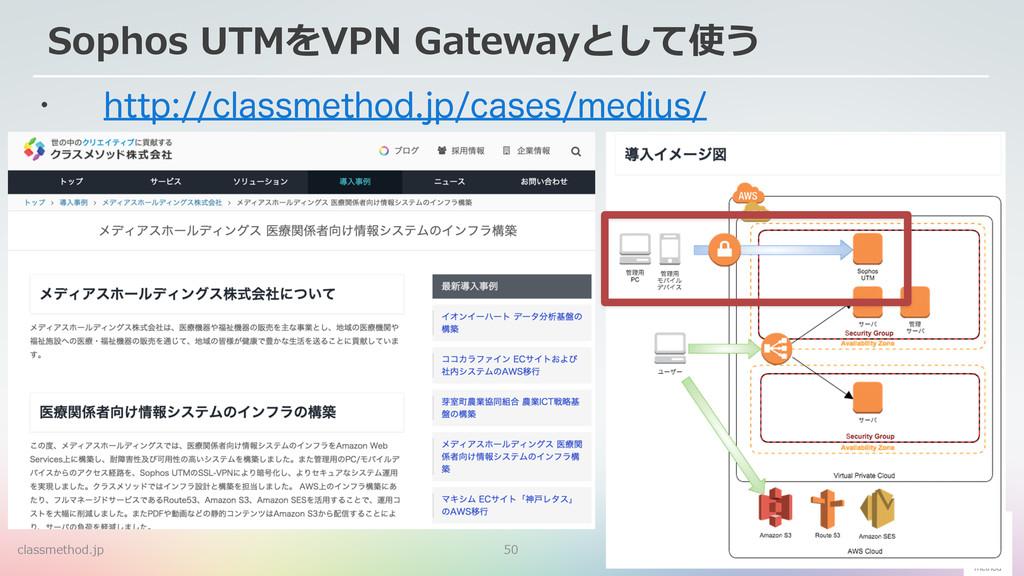 50 Sophos UTMをVPN Gatewayとして使う w IUUQDMBTT...