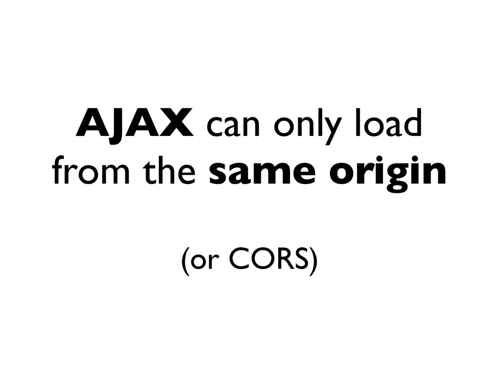 AJAX can only load from the same origin (or COR...