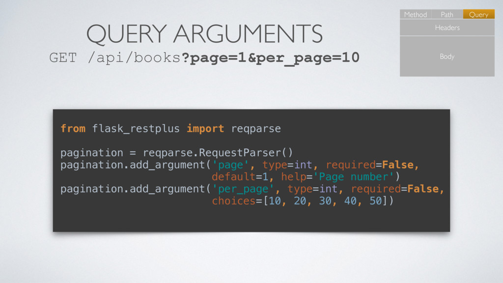 QUERY ARGUMENTS GET /api/books?page=1&per_page=...