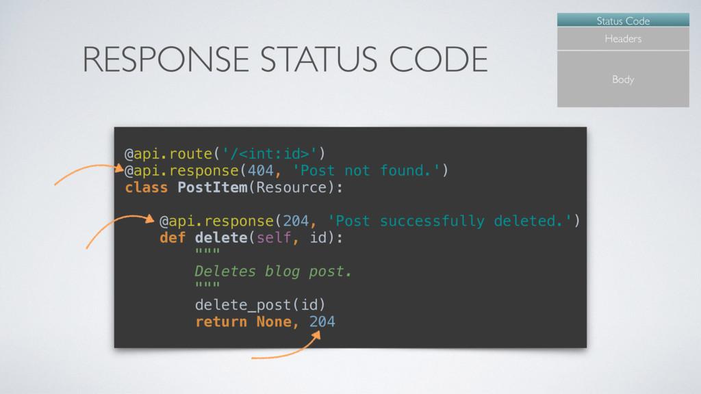 RESPONSE STATUS CODE Status Code Headers Body @...