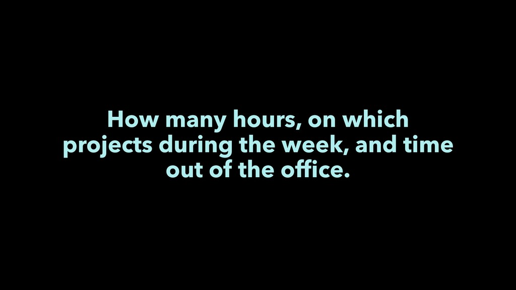 How many hours, on which projects during the we...