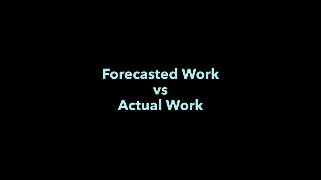 Forecasted Work vs Actual Work