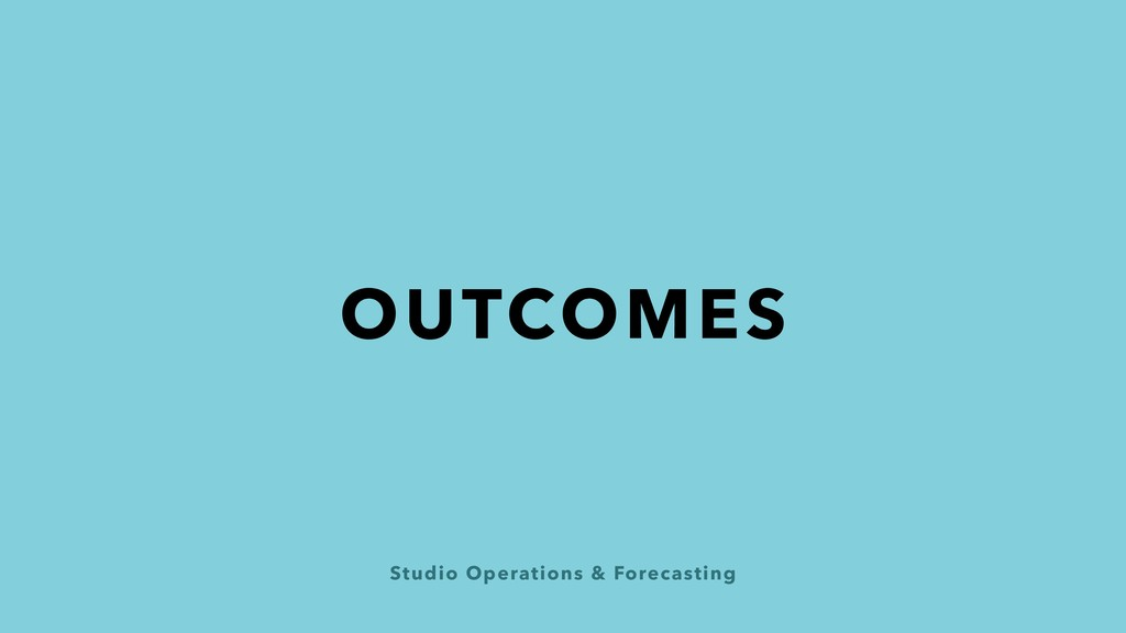 Studio Operations & Forecasting OUTCOMES