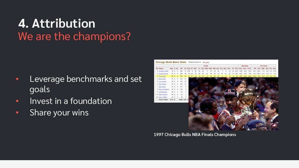 4. Attribution We are the champions? • Leverage...