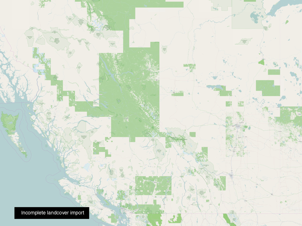 Incomplete landcover import
