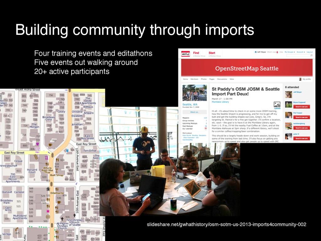 Building community through imports Four trainin...