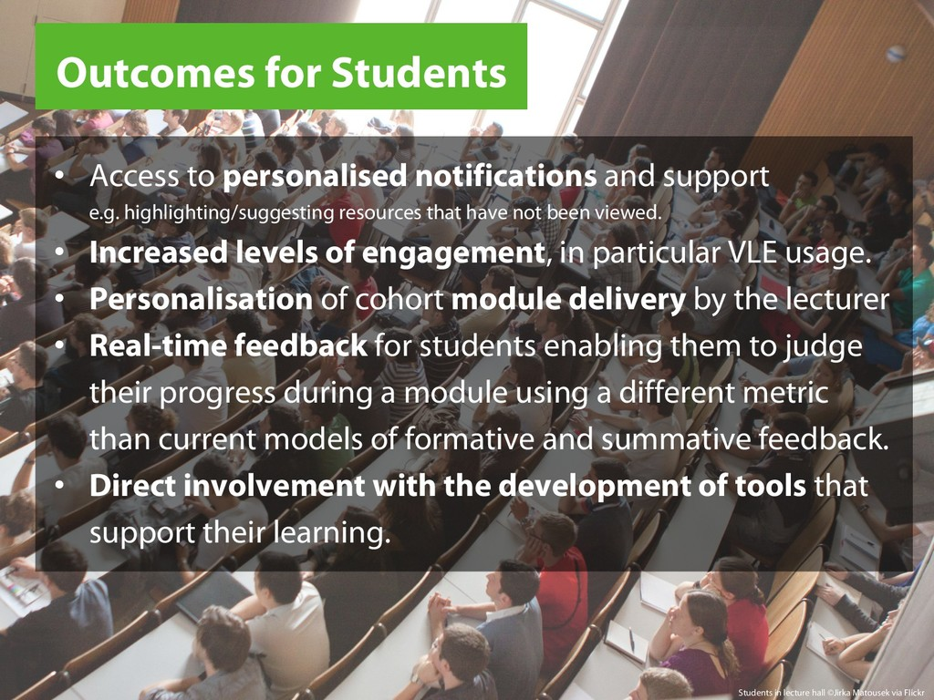 Outcomes for Students Students in lecture hall ...