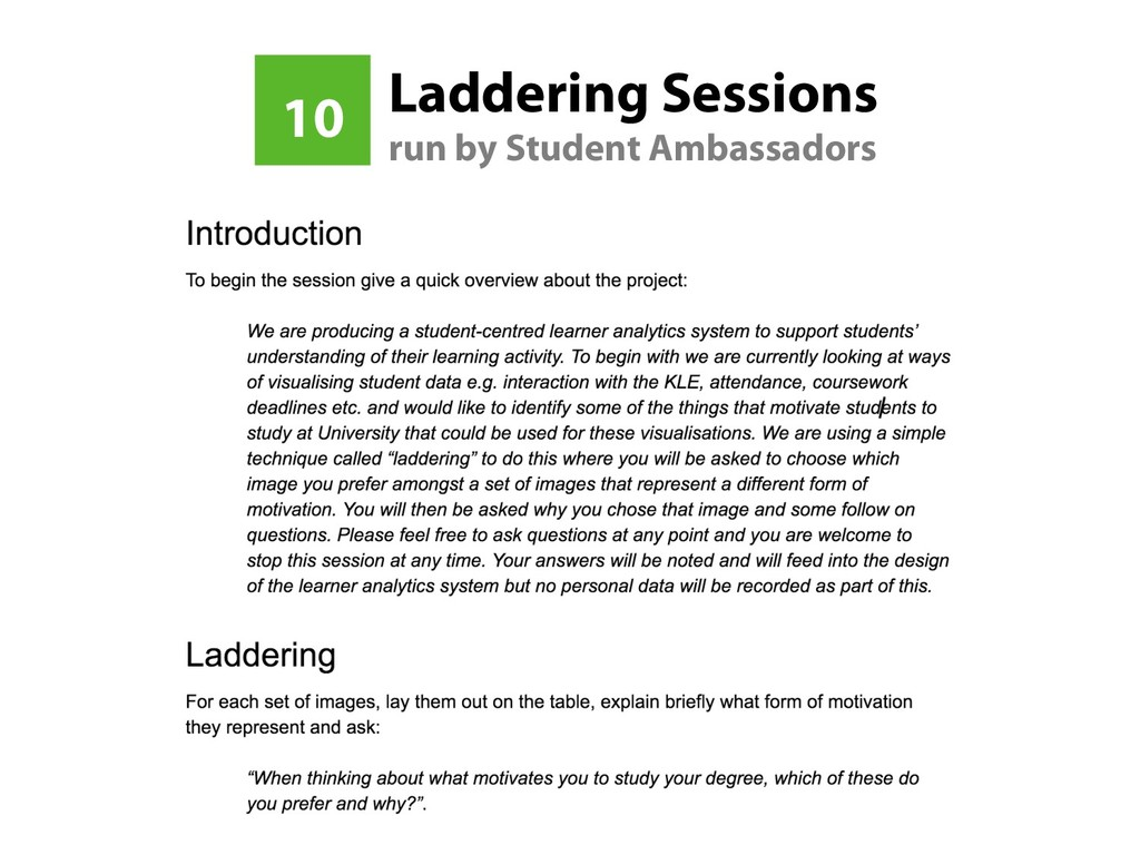 Laddering Sessions run by Student Ambassadors 10