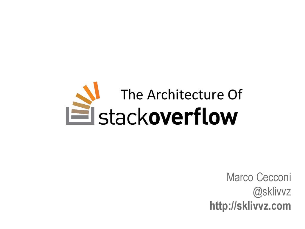 The Architecture Of Marco Cecconi @sklivvz http...