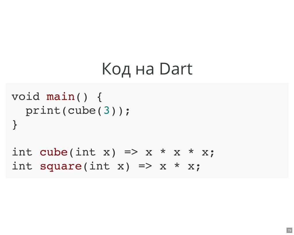 Код на Dart void main() { print(cube(3)); } int...