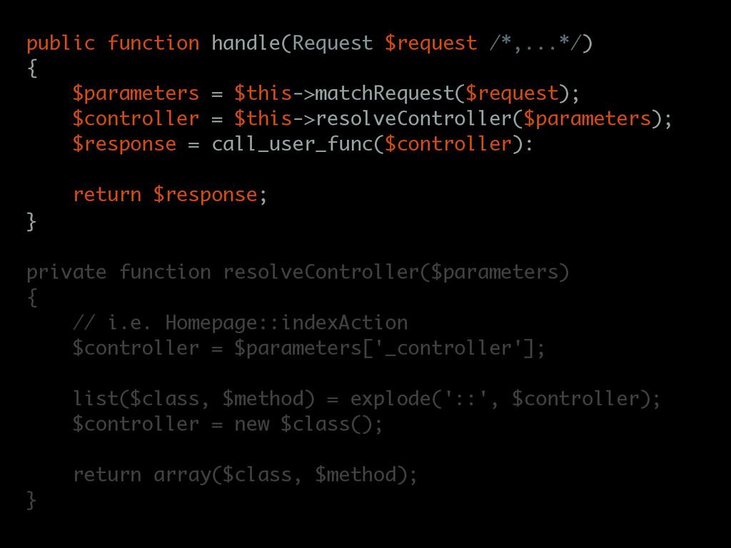 public function handle(Request $request /*,...*...
