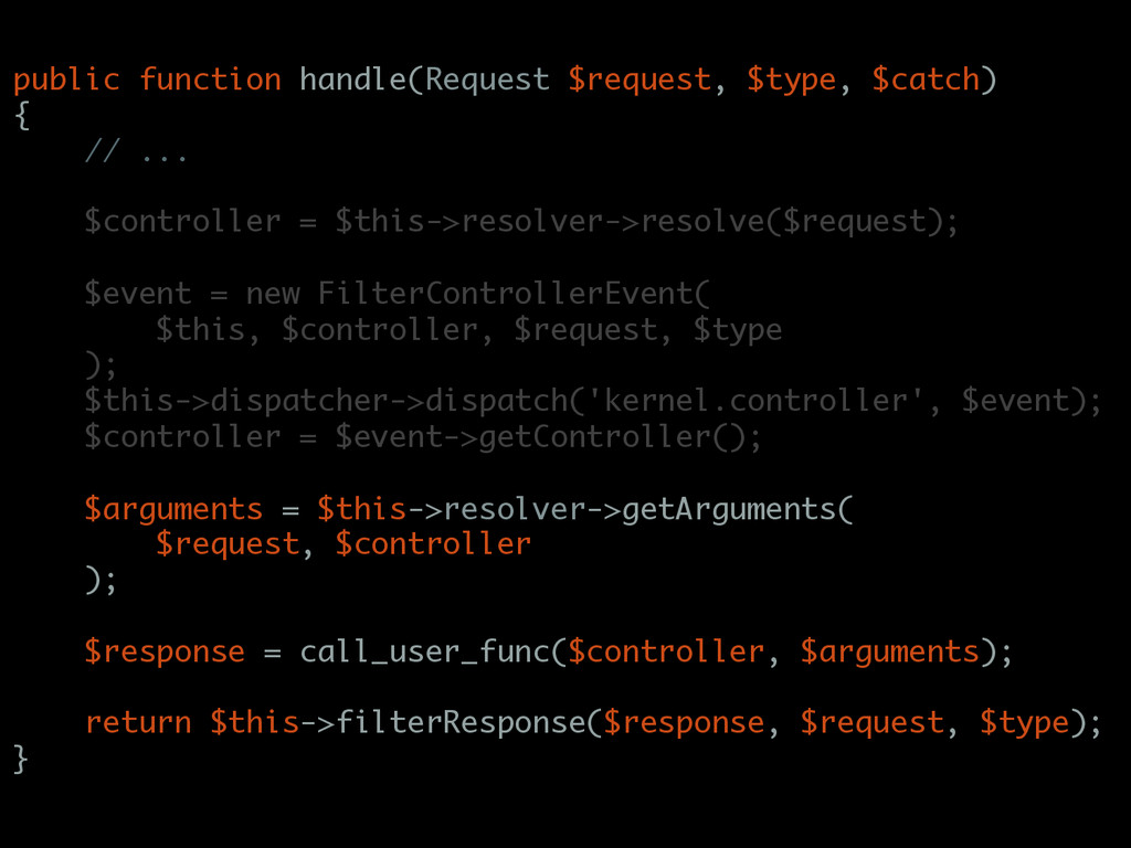public function handle(Request $request, $type,...