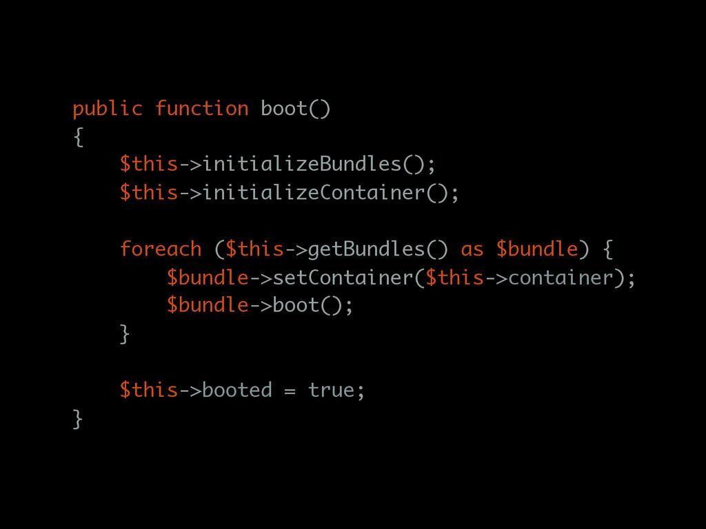 public function boot() { $this->initializeBundl...
