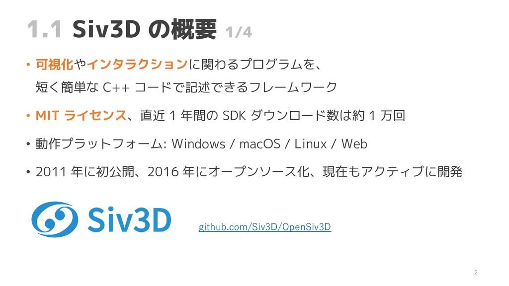 1.1 Siv3D の概要 1/4 • 可視化やインタラクションに関わるプログラムを、 短く簡...