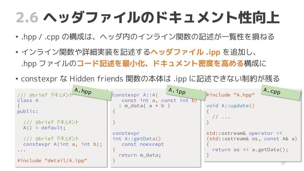 2.6 ヘッダファイルのドキュメント性向上 • .hpp / .cpp の構成は、ヘッダ内のイ...