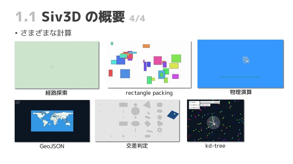 経路探索 1.1 Siv3D の概要 4/4 • さまざまな計算 rectangle pack...