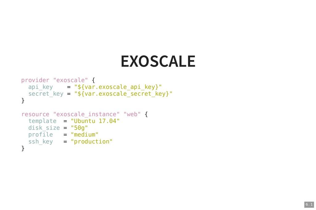 """EXOSCALE EXOSCALE provider """"exoscale"""" { api_key..."""