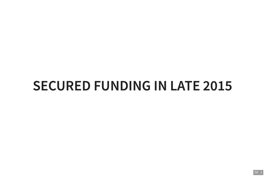 SECURED FUNDING IN LATE 2015 SECURED FUNDING IN...