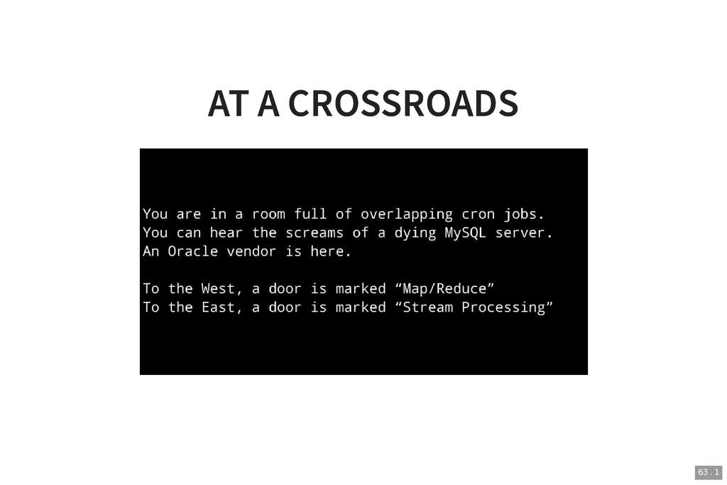 AT A CROSSROADS AT A CROSSROADS 63 . 1