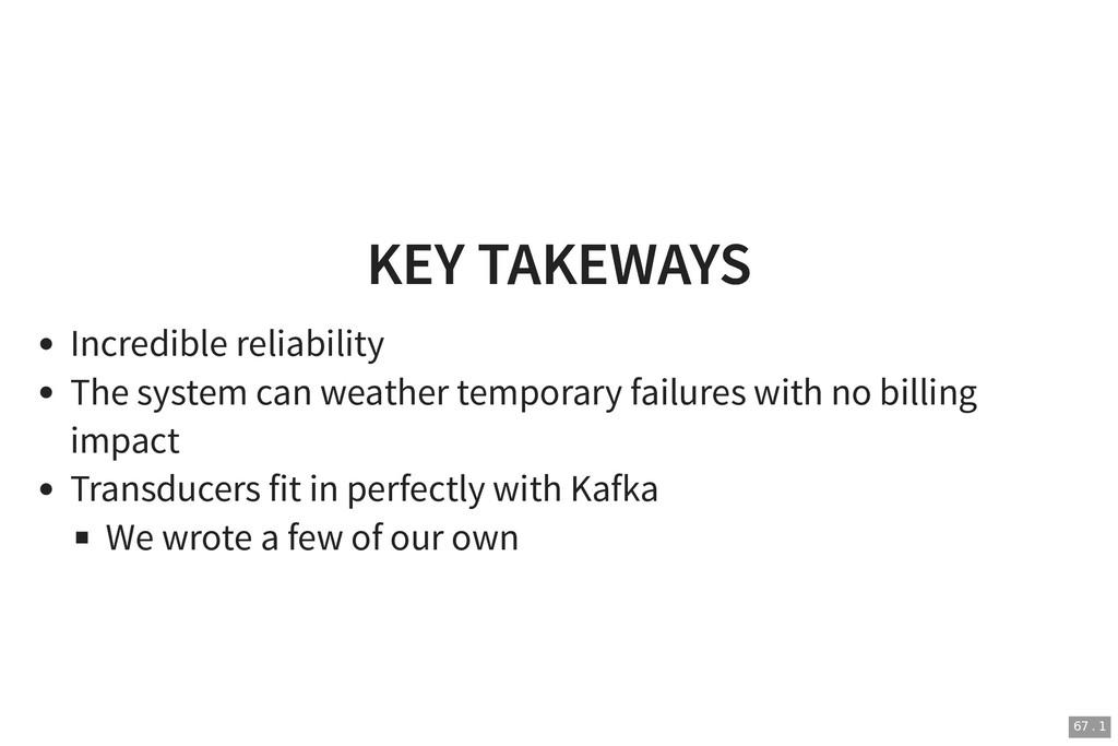 KEY TAKEWAYS KEY TAKEWAYS Incredible reliabilit...