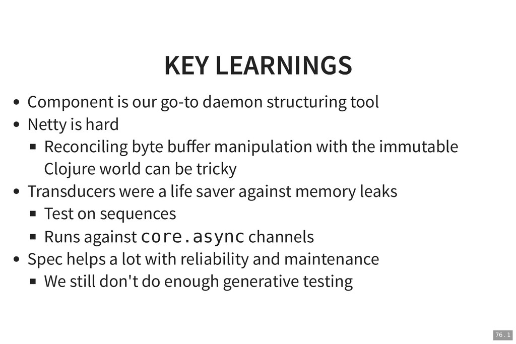 KEY LEARNINGS KEY LEARNINGS Component is our go...