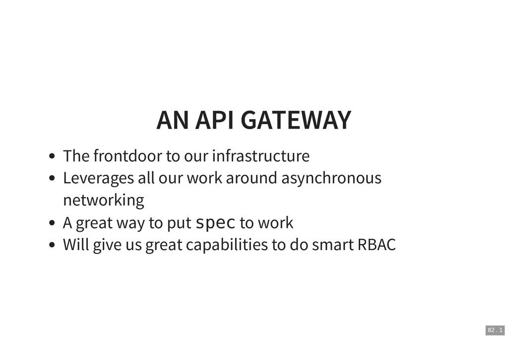 AN API GATEWAY AN API GATEWAY The frontdoor to ...