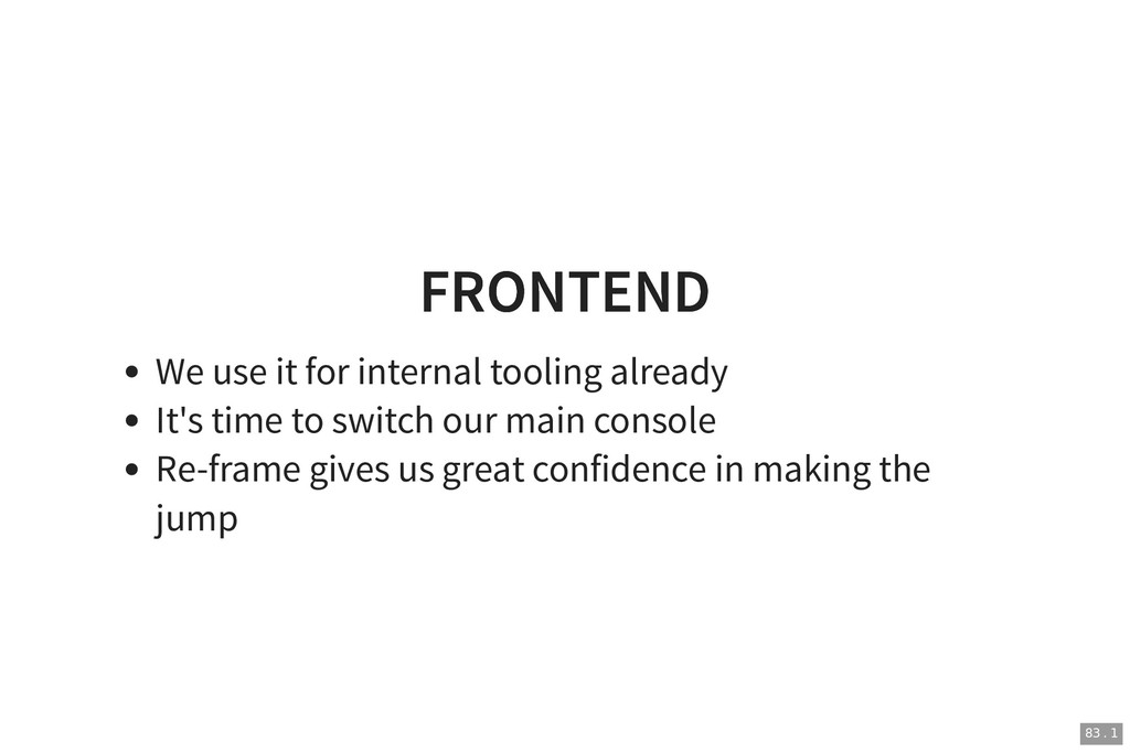 FRONTEND FRONTEND We use it for internal toolin...