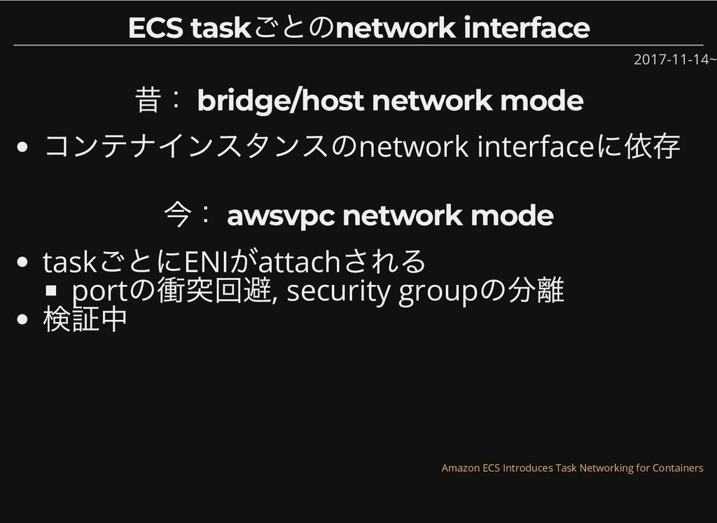 ECS task ごとのnetwork interface ECS task ごとのnetwo...