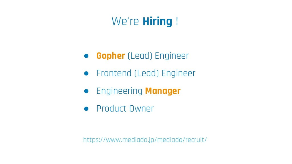 We're Hiring ! ● Gopher (Lead) Engineer ● Front...