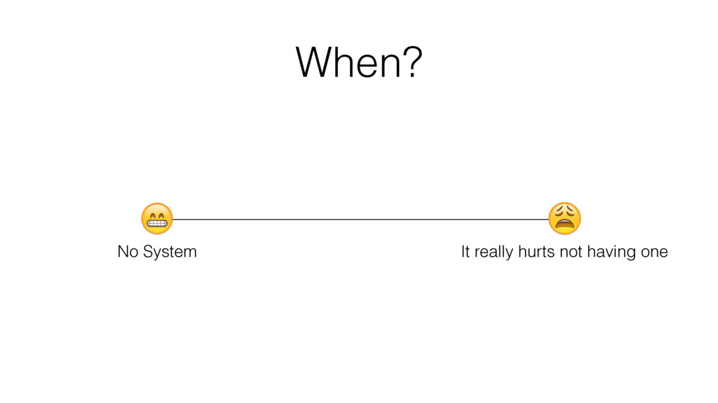 When? No System It really hurts not having one