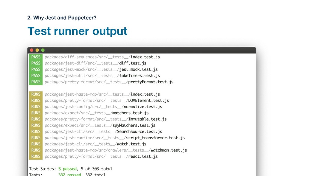 Test runner output 2. Why Jest and Puppeteer?