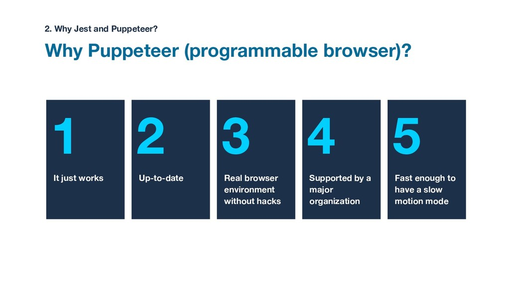 1 2 3 4 5 Why Puppeteer (programmable browser)?...
