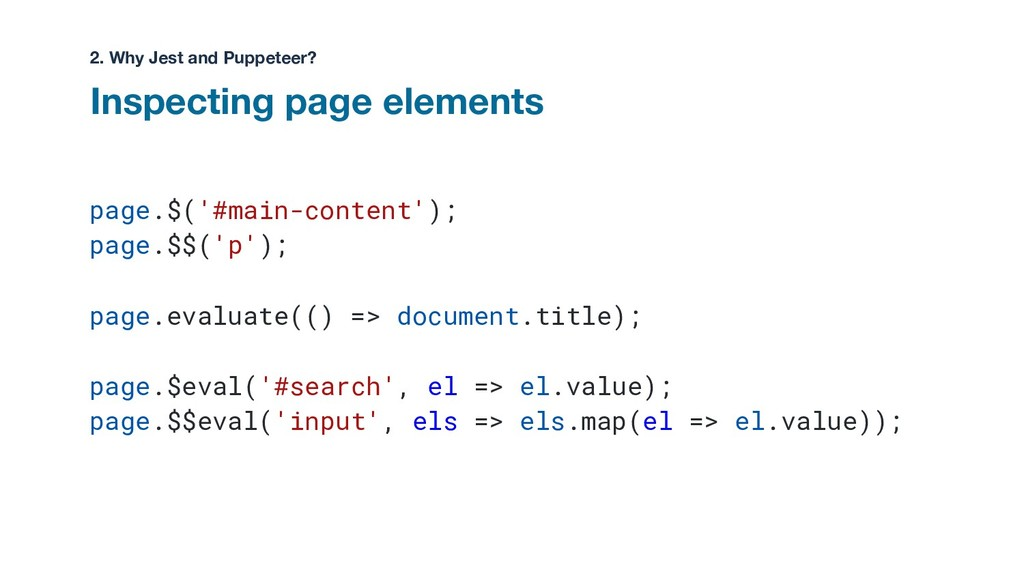 page.$('#main-content'); page.$$('p'); page.eva...