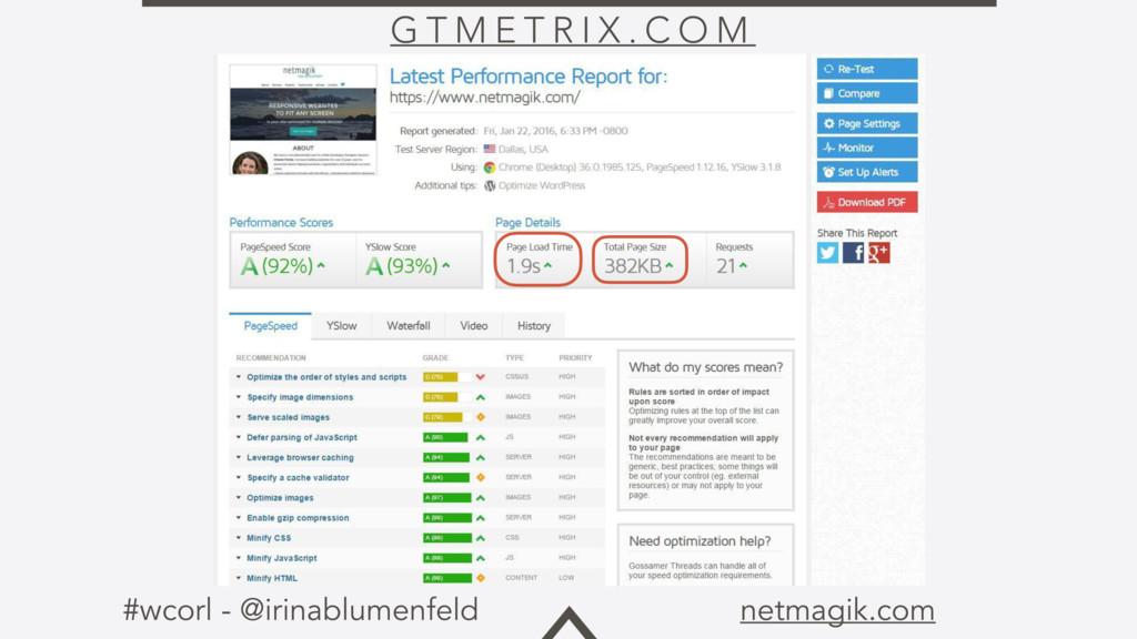 #wcorl - @irinablumenfeld netmagik.com G T M E ...