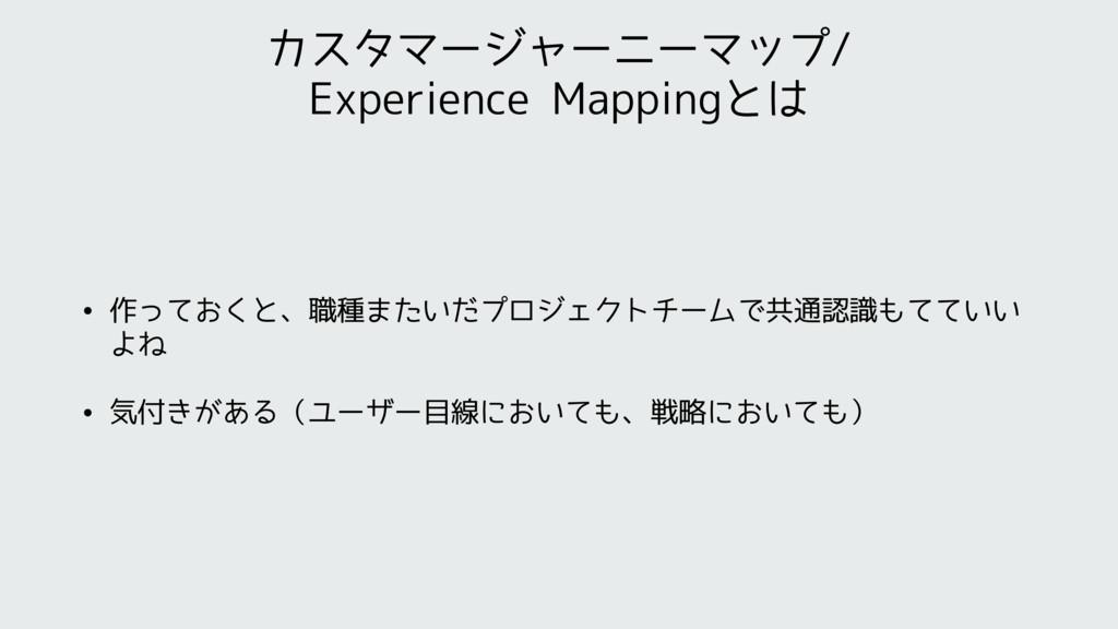 カスタマージャーニーマップ/ Experience Mappingとは • 作っておくと、職種...