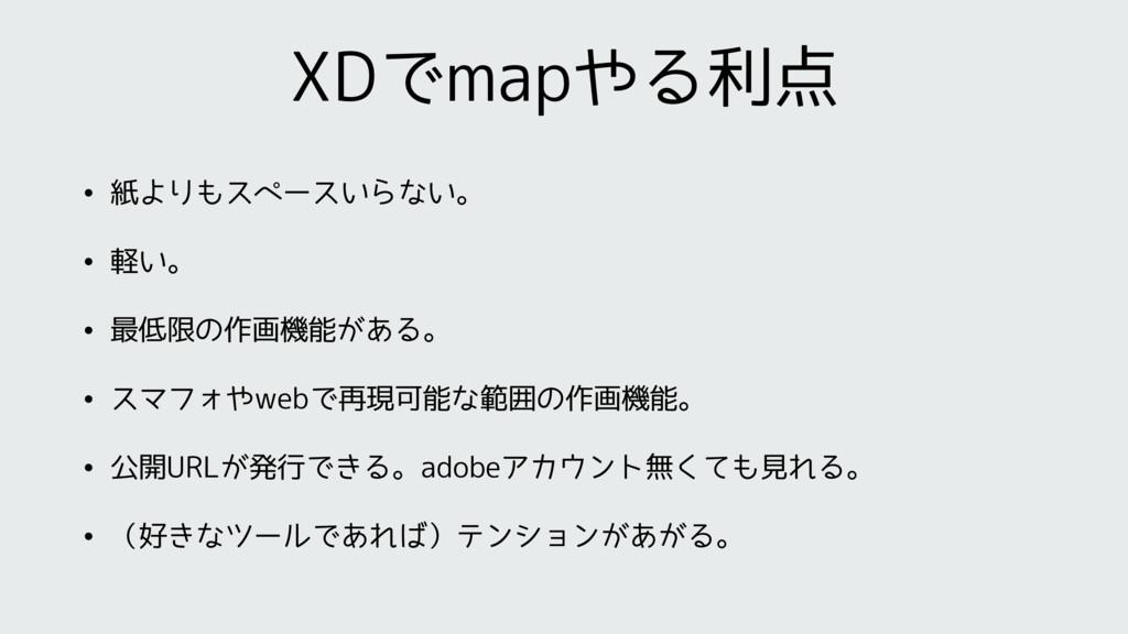 XDでmapやる利点 • 紙よりもスペースいらない。 • 軽い。 • 最低限の作画機能がある。...