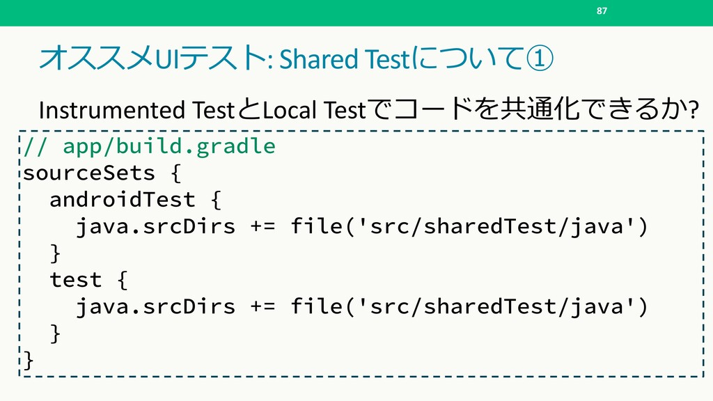 UI: Shared Test  87 Instrumented Tes...