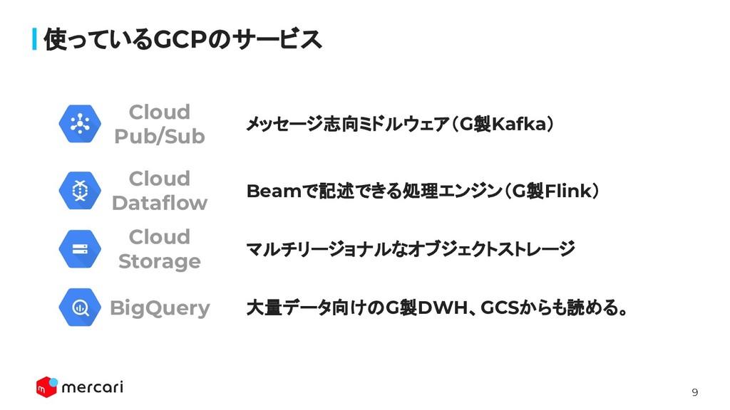 9 メッセージ志向ミドルウェア(G製Kafka) 使っているGCPのサービス Beamで記述で...
