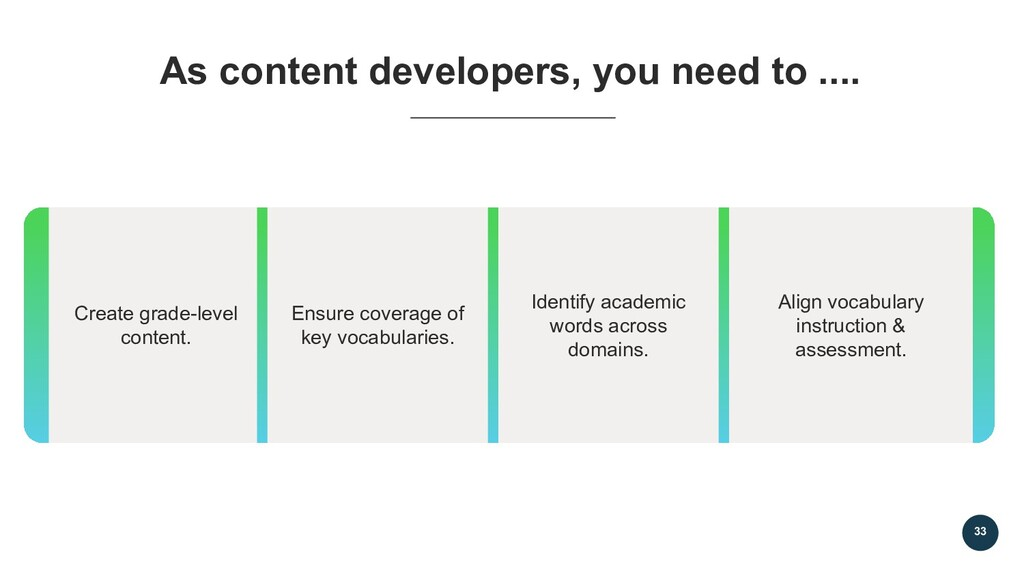 33 As content developers, you need to .... Crea...