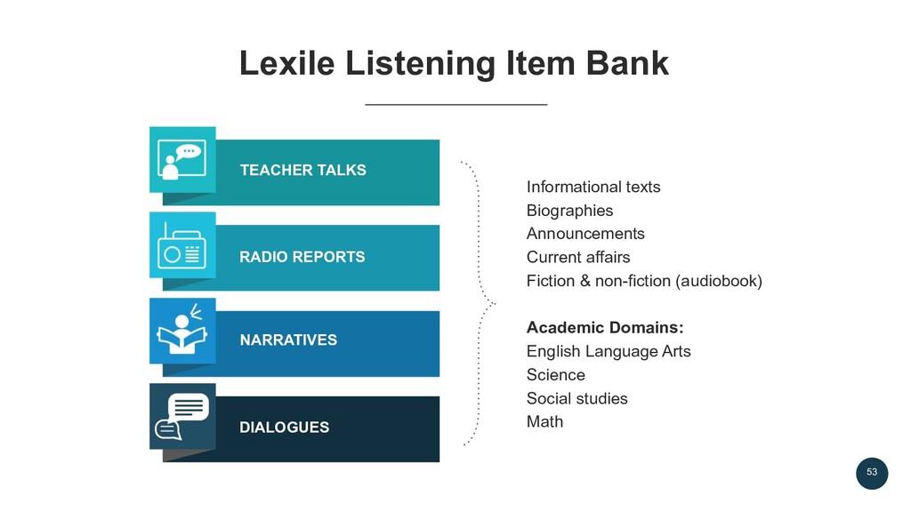 53 Lexile Listening Item Bank Informational tex...