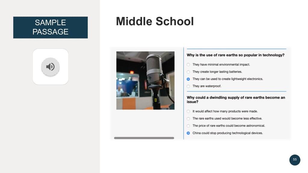 Middle School 55 SAMPLE PASSAGE